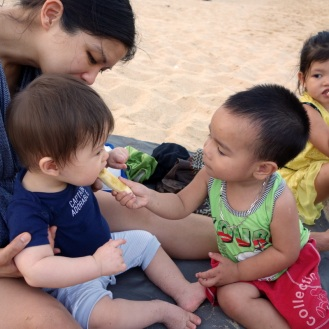 This baby always wanted to feed Daniel