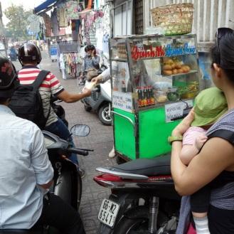 in queue for our banh mi op la