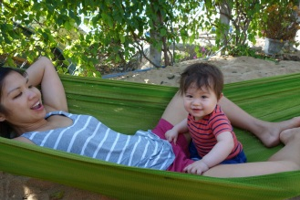 Horsing around in the hammocks at Haven