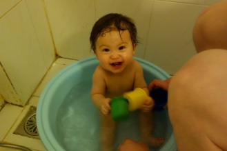 enjoying his bath time!