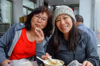Mom and Iris enjoying breakfast
