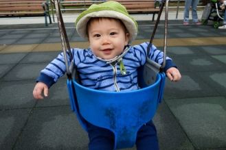 Jacob on the swing at Da'an park