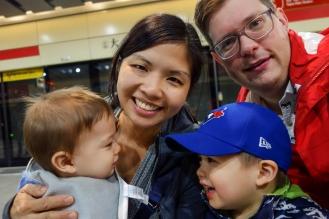 Family selfie inside the MRT