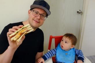 Jacob wants in on the breakfast sandwich!