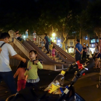 Busy concrete slide park in Dongmen
