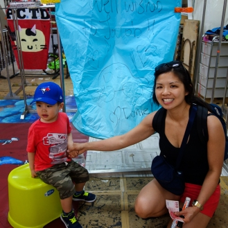 Andrea and Daniel with our blue lantern