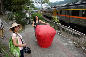 Iris about to release her lantern when the train rode by!