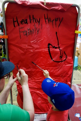 Jesse and Daniel decorating the 3rd lantern