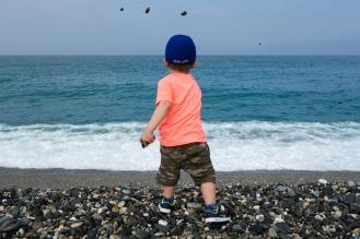 Daniel throwing his rocks