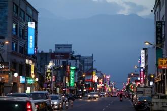 The main street at night