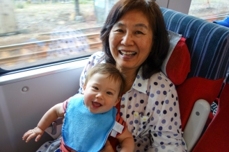 Po Po and Jacob on the train